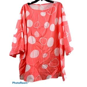 Coral and White Plus Sized Tunic with Bell Sleeves